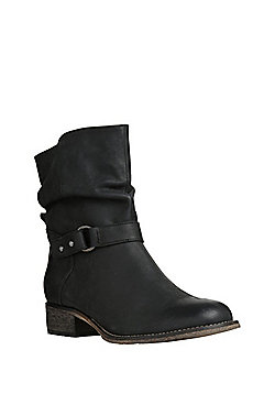 F&F Buckled Leather Slouch Ankle Boots - Black