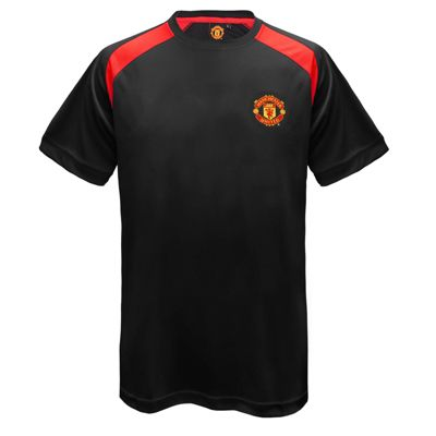 Manchester United FC Mens Poly T-Shirt Black Small