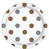 Metallic Polka Dot Plates - 23cm Paper Party Plates