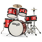 Stagg TIM J 5 Piece Junior Drum Kit - Red – with 6 Months Free Online Music Lessons