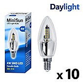 Pack of 10 Minisun SES 4w 36 SMD LED Candle Bulbs 6000k 330 Lumens