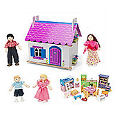 Le Toy Van Anna's Little House Dollshouse with Starter Furniture Set and My Family of 4 Dolls