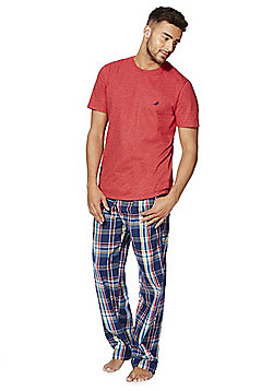 F&F Checked Bottoms Loungewear Set - Red & Multi