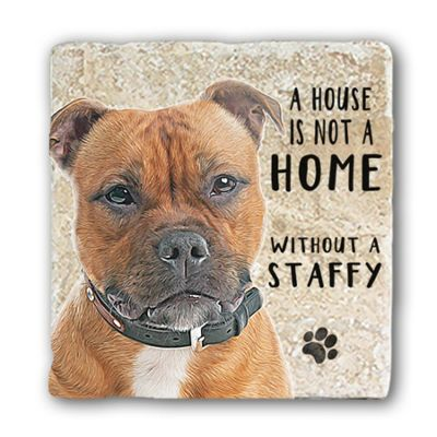 Original Metal Sign Co Marble Coaster, Staffy