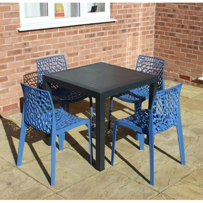 Brackenstyle Madrid Table and 4 Avio Blue Neptune Chairs - Seats 4