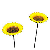 Set of 2 Cast Iron Sunflower Wild Bird Feeders