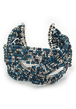 Boho Blue/ Silver/ Turquoise Coloured Glass Bead Plaited Flex Cuff Bracelet - Adjustable