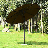 Outsunny 24 LED Light Parasol Tilt Sun Umbrella w/ Hand Crank (Coffee)