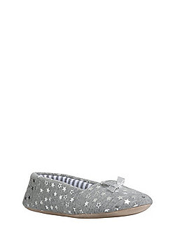 F&F Foil Star Print Ballerina Slippers - Grey