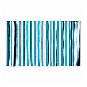 Homescapes Modern Blue Scandinavian Style Striped Cotton Rug, 90 x 150 cm