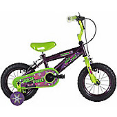 "Bumper Ninja 12"" Wheel Kids Bike Purple/Green Stabilisers"