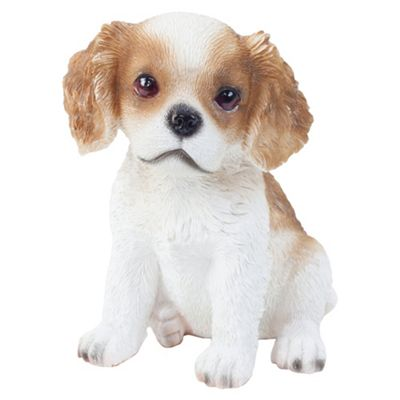 Realistic 15cm Sitting Cavalier King Charles Spaniel Puppy Dog Statue Ornament