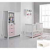 Obaby Stamford Mini Cot Bed/Wardrobe + Sprung Mattress - White with Eton Mess (Pink)