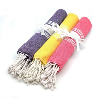 Childrens Turkish Beach / Bath / Yoga / Hammam, Peshtemal Towel Yellow Pink Purple x3