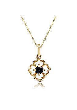 Gemondo 9ct Yellow Gold 0.16ct Floral Sapphire Pendant on 45cm Chain