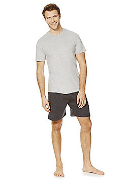 F&F Marl Shorts Loungewear Set - Grey marl
