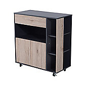 Homcom Wooden Rolling Cart Kitchen Trolley Storage Cabinet w/ Door & Shelves & Drawer