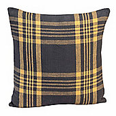 Homescapes Grey & Yellow Tartan Check Filled Cushion, 45 x 45 cm