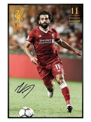 Liverpool FC Gloss Black Framed Salah 17-18 Poster