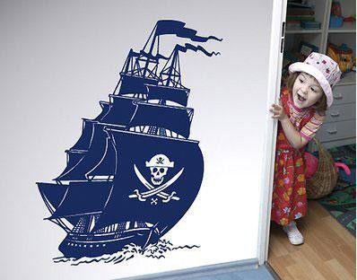 Pirate Ship Wall Sticker, Black