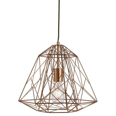 GEOMETRIC CAGE 1 LIGHT FRAME PENDANT SHINY COPPER