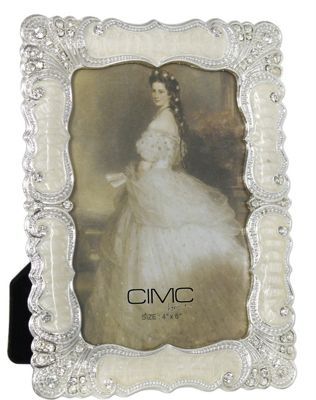 Silver and Cream Classic Stately Floral Photo Frame 4 x 6