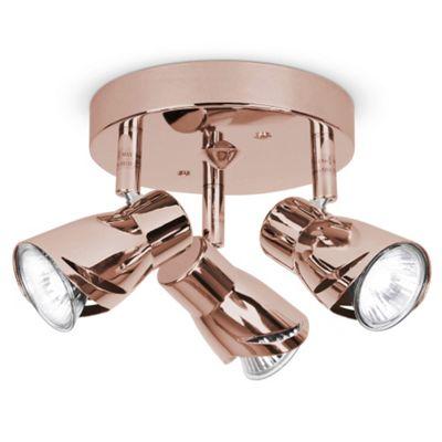Sleek Three Way Ceiling Spotlight, Copper