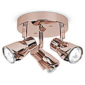 Sleek Three Way Ceiling Spotlight, Copper