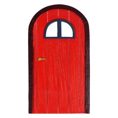 Large Red Polyresin Garden Fairy Door with Window