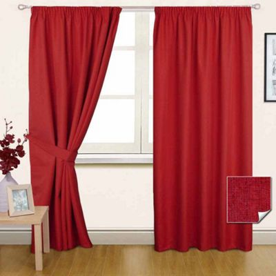 Homescapes Wine Pencil Pleat Blackout Curtain Pair, 66 x 54