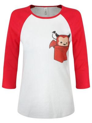 Pocket Devil Red & White Raglan Women's T-shirt