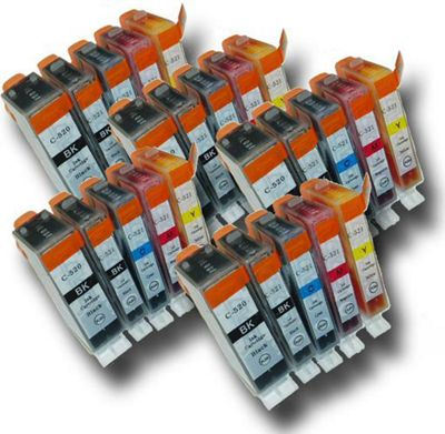25 Chipped Compatible Canon PGI-520 & CLI-521 Ink Cartridges
