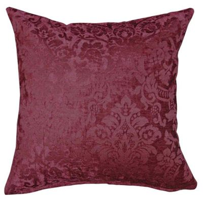 Homescapes Wine Red Velvet Jacquard Cushion Cover