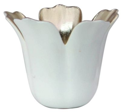 White and Gold Small Tulip Tealight Holder