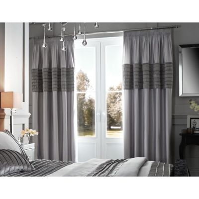 Catherine Lansfield Corded Velvet Band Grey Eyelet Curtains - 66x72 Inches (168x183cm)