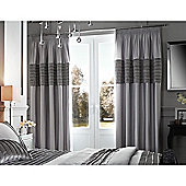 Catherine Lansfield Corded Velvet Band Grey Eyelet Curtains - Grey