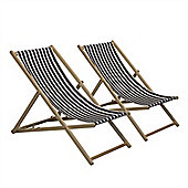 Traditional Adjustable Garden / Beach-style Deck Chair - Black / White Stripe - Pack of 2