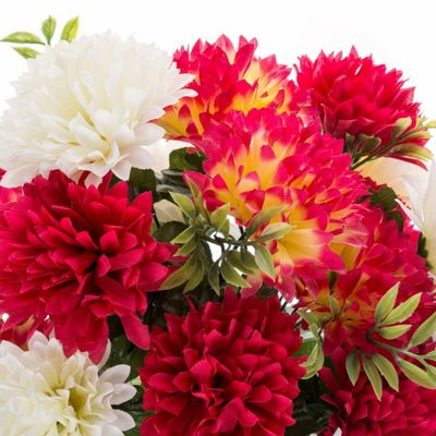 Homescapes Cream and Red Artificial Flower Bush Arrangement with Chrysanthemums