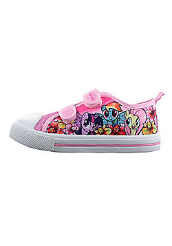 Girls MLP My Little Pony Pink Glitter Hook & Loop Sports Trainers Shoes UK Sizes 6 - 12 - Pink