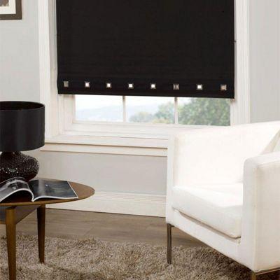 Roller Blind Square Eyelet Detail - Black - 60 cm wide x 165 cm drop
