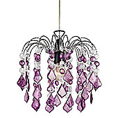 Purple Acrylic Easy Fit Pendant Light Shade with Chrome Metal Frame