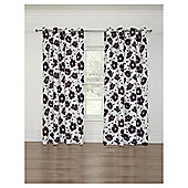 Poppy Print Lined Eyelet Curtains, Heather (66 x 54'') - Heather purple