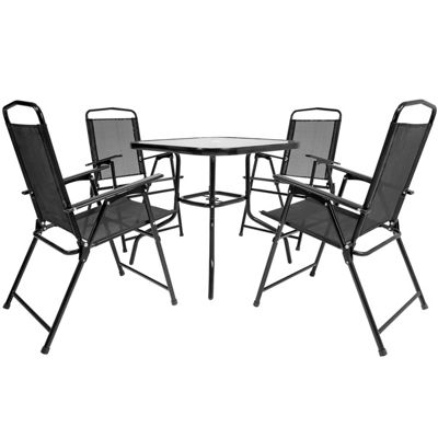 Charles Bentley 4 Seater Black Mesh Square Dining Set
