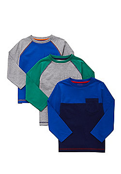 F&F 3 Pack of Colour Block Long Sleeve T-Shirts - Multi