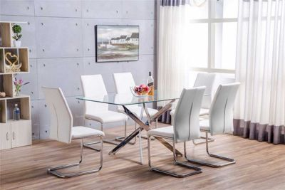 Leonardo Glass And Chrome Metal Dining Table With 6 White Lorenzo Chairs
