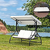 Outsunny 3 Seater Canopy Swing Chair Porch Hammock Bed Rocking Bench
