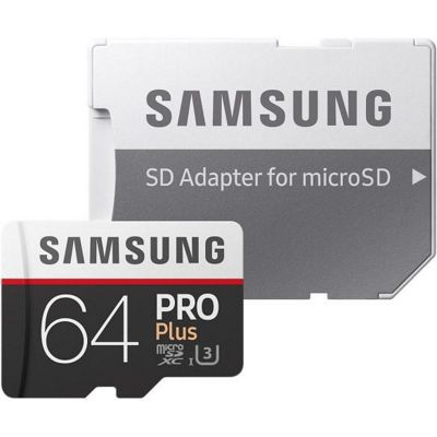 Samsung Pro Plus 64 GB microSDXC UHS-I Flash Memory Card with SD Adapter