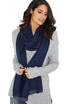 F&F Sparkle Pleated Scarf - Navy