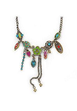 Vintage Inspired Multicoloured Crystal, Enamel Floral Necklace In Burn Gold Tone - 38cm Length/ 5cm Extension
