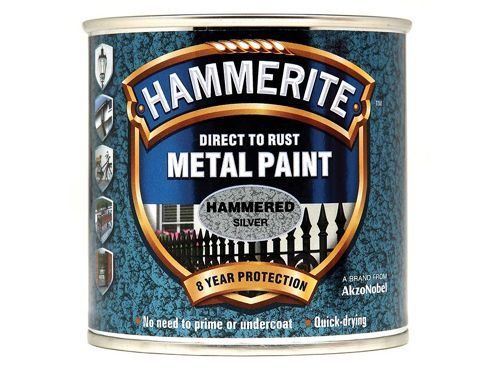 Hammerite Direct to Rust Hammered Finish Metal Paint Silver 250ml